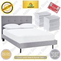 Bed Linen Double / Kain Sprei Hotel / Bed Sheet Hotel / Sprei Putih