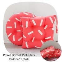 Paket Bantal Duduk Premium (Bulat & Kotak) Alas Duduk Motif Pink Stick