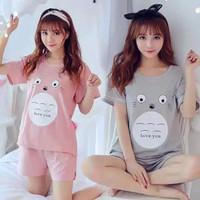 Setelan Kaos & Celana Pendek Wanita Baju Rumah Santai Size L - MELAST