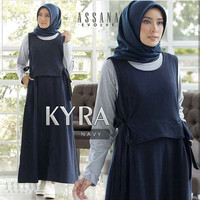 Baju Gamis Wanita Muslim Kyra Set Overall Gamis Jumpsuit Terbaru