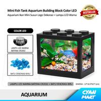 Aquarium Ikan Mini Fish Tank Block Building Akuarium Hias Lego Led USB - COLOR LED