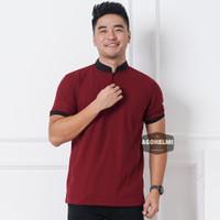 Polo Shirt Kaos Pria Kerah Shanghai Polos Merah Maroon JUMBO BIGSIZE
