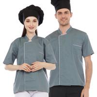 Baju Chef Abu List Putih