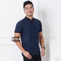 Polo Shirt Kaos Polo Pria Kerah Shanghai Polos Biru Navy JUMBO BIGSIZE