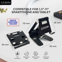 Holder HP LiVION+ Dudukan HP Aluminium Stand Holder Lipat iPad Tablet