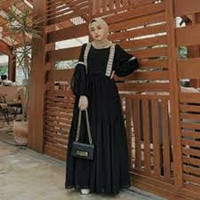 Baju Gamis Wanita Muslim Murah Hayla Maxi Dress Hitam Busui [S M L XL]