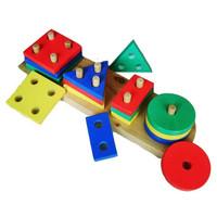 Mainan Edukatif Edukasi Anak - Puzzle Kayu Balok Murah Geo 4 Bentuk