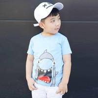 Kaos Anak Laki - Laki Usia 1-9th| Blue Shark Tee by Little Jergio