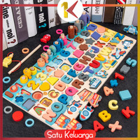 SK-M94 Mainan Edukasi 7in1 Puzzle Kayu Anak Huruf dan Angka Pancing Ik