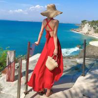 Dress panjang merah red long pantai bali baju gaun maxi prewed
