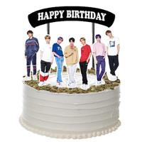 BTS Black Ribbon Topper Cake Birthday / Hiasan Kue Ulang Tahun