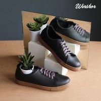 Sneakers Kulit Pria - Winshor - Hazzard - Black Gum Sole