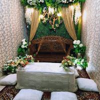 sewa backdrop pernikahan/akad nikah + meja akad lesehan 2.2meter