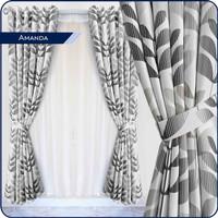 Gorden jendela minimalis bahan satin motip amanda