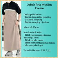 jubah gamis pria baju muslim hem saudi lengan pendek habib cream