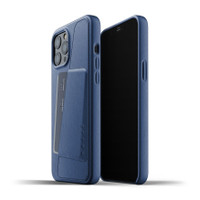 Mujjo Full Leather Wallet Case for iPhone 12 Pro Max Casing Apple - Monaco Blue