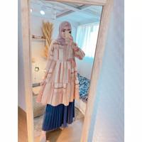 atasan baju muslim wanita tunik febi motif bahan maxmara busui