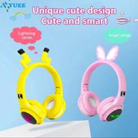 Headset Bluetooth Bando Motif pikachu Headphone Lucu Untuk Anak-Anak