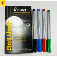 Pulpen Pilot Balliner (Ball Liner Medium 0.8mm)Hitam-Merah-Biru-Hijau