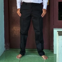 Celana Bahan Kain Pria Hitam Drill size 24-30
