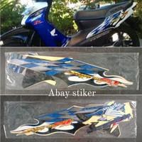 Striping stiker & list body Honda Supra fit new R 2006 putih biru