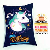Kado Lucu Hadiah Ulang Tahun Anak Bantal Tema Galaxy Unicorn - 30x40cm