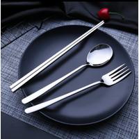 Sendok Garpu Sumpit Korea 4in1 Set - Alat Makan Sujeo Set - BICCA - SILVER