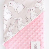 Carrol baby hooded blanket rabbit salem - minky pink - minky yellow - pink