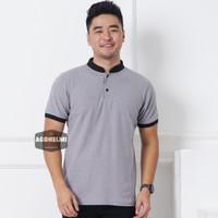 Polo Shirt Kaos Polo Pria Kerah Shanghai Polos Abu Muda JUMBO BIG SIZE