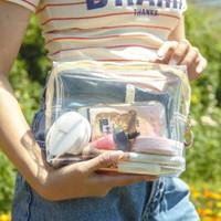 Transparent pouch ( pouch make up, tempat pensil, brush) Bahan tebal