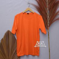 Kaos polos pria wanita lengan pendek combed 30s atasan Orange fashion