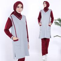 BS12 Stelan Muslim Tunik / Baju olahraga wanita / abu marun