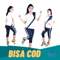 Setelan baju senam zumba aerobik wanita atasan senam dan celana senam - XL