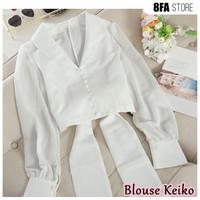 Baju Blouse Putih Polos Atasan Wanita Korea Aneka Warna Kekinian 8FA-G