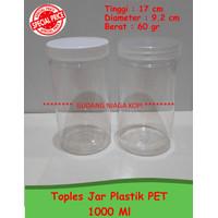 Toples Jar 1000 ml plastic PET tebal premium kue kering makanan ringan
