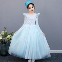 Baju Dress Anak Kostum Frozen Princess Elsa Sequin Cantik Import H013