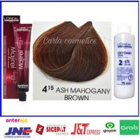 Cat rambut L'oreal majirel 4.15 ASH MAHOGANY BROWN + oxidan't L'oreal