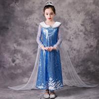 Baju Dress Anak Kostum Frozen Princess Elsa Sequin Blue Import 4T-8T