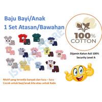 Setelan Baju Kaos Anak/Bayi Katun Asli Motif B
