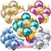 Balon set confetti chrome silver gold purple red blue
