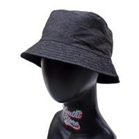 Topi Bucket Motif Jeans Denim Abu Navy Pantai Mancing Rimba BucketHat - Abu-abu, TOPI BUCKET