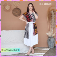 baju pesta wanita gaun etnik blouse dress batik mix songket motif K