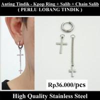 Anting Tindik Cowok Pria - KPOP Ring + Salib + Chain Salib