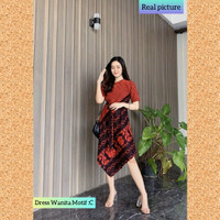 baju dress batik wanita gaun pesta kondangan maxi dres troso motif C