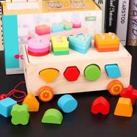 Kids Wooden Building Blocks Puzzle Toy Trailer Shape Sorter Toys Puzz