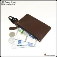 dompet kunci hushpuppies zipper brown bahan kulit sapi asli stnk