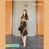 baju dress batik wanita gaun pesta kondangan maxi dres troso motif D