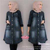 Tunik Jeans Helma / Model Terbaru / Baju Muslim / Fashion Wanita
