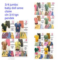 baby doll anne claire jumbo XL 2L 3/4 tangan pendek celana 3/4