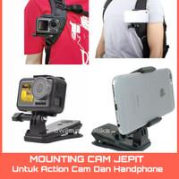 mounting kamera jepit holder hp klip tas ransel gopro xiaomi yi phone